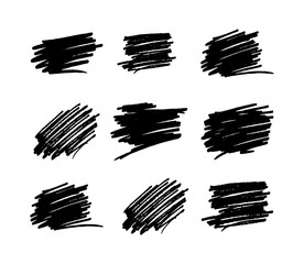 Hand drawn set of brush strokes, vector