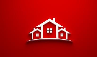 Real Estate Houses Logo Design. 3D Rendering Illustration