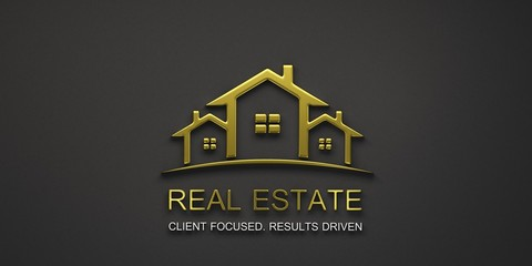 Real Estate Houses Gold Logo Design. 3D Rendering Illustration