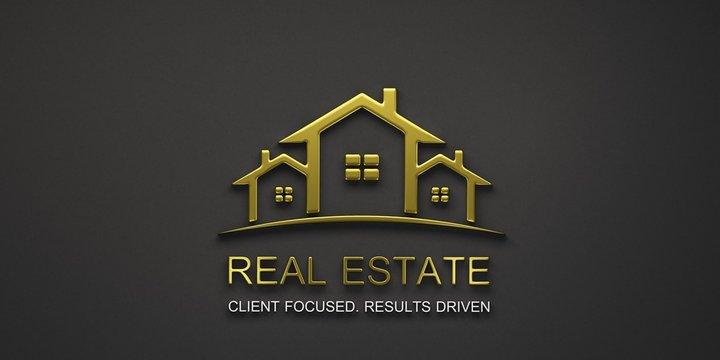 Real Estate Houses Gold Logo Design. 3D Rendering Illustration