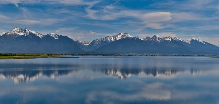 Panorama of Nine Pipes National Wildlife Refuge and the Mission Mountains