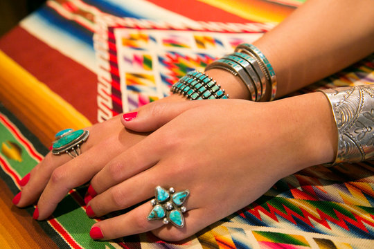 Model displaying Jewelry for Sale, Santa Fe, New Mexico, USA.