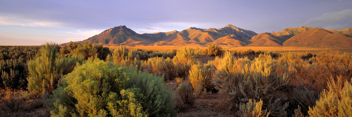 USA, Nevada, Denio. Dusk settles over the Bilk Creek Mountains, Denio, Nevada.