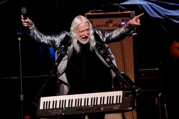 Edgar Winter performs at the Bethel Woods Center for the Arts, at the original site of the Woodstock Festival on the 50th anniversary, in Bethel, New York
