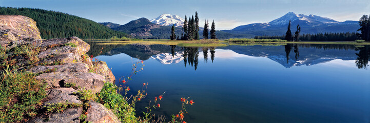 USA, Oregon, Sparks Lake. Red Columbine grow from a rock outcrop at Sparks Lake in the Cascades Range of Oregon. Wall mural