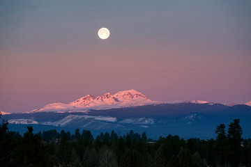 Wall Mural - USA, Oregon, Broken Top and South Sister. A full winter moon sets over Broken Top and the South Sister in the Oregon Cascades Range.