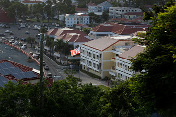 An American flag flies at the U.S. District Court of the Virgin Islands in Charlotte Amalie