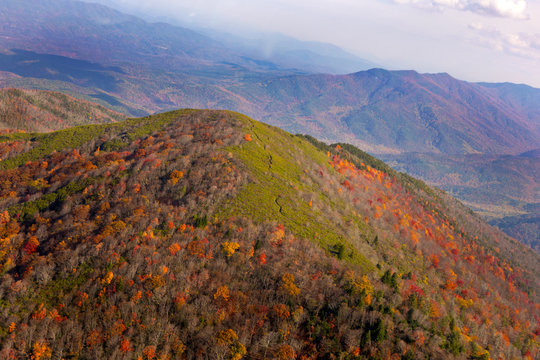 Aerial view of Great Smoky Mountains National Park from helicopter in autumn.