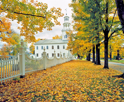 USA, Vermont, Bennington. Amidst fallen fall foliage stands this lovely white church in Bennington, Vermont.
