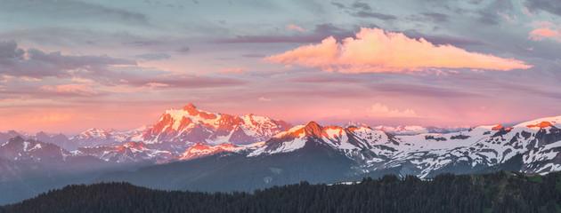 Wall Murals Night blue USA. Washington State. Panorama of Mt. Shuksan, Lasiocarpa Ridge and north Cascades from Skyline Divide at sunset.