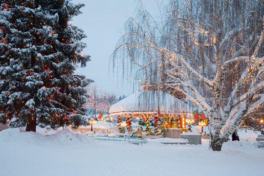 WA, Leavenworth, Bavarian style village, Gazebo and City Park, with holiday lights