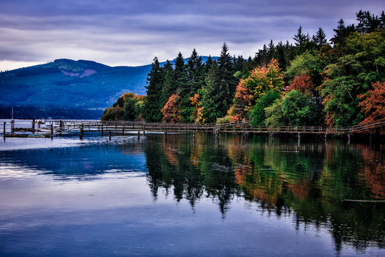 Discovery Bay, Sequim, Washington State. Fall foliage and the trees reflection in the water on Discovery Bay with docks