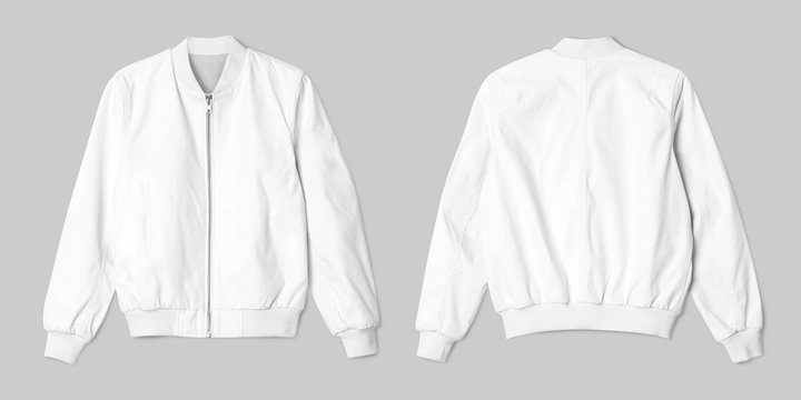 White jacket bomber in front and back view isolated on white background.