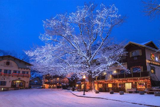 Christmas Lighting Festival, Leavenworth, Bavarian Alpine Village, Eastern Washington State, USA