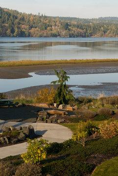 USA, WA, Olympic Peninsula, Sequim. Jamestown S'Klallam Tribal Center elegant landscaping on Sequim Bay