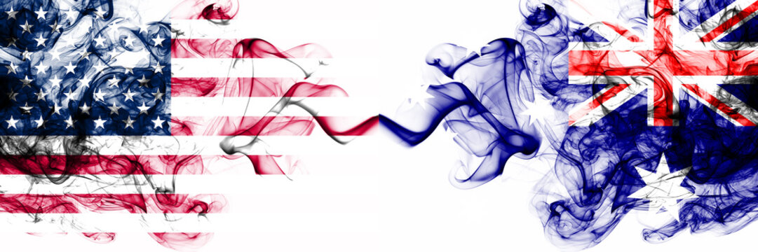 United States of America vs Australia, Australian smoky mystic flags placed side by side. Thick colored silky abstract smokes banner of America and Australia, Australian