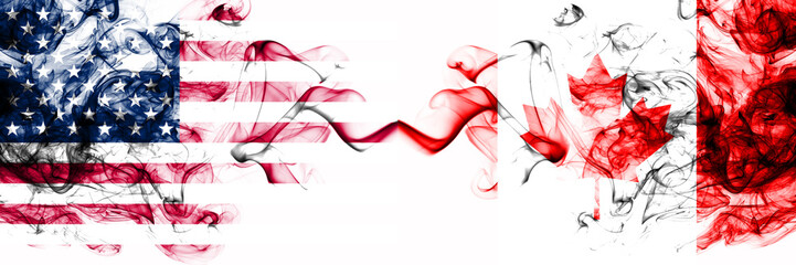 United States of America vs Canada, Canadian smoky mystic flags placed side by side. Thick colored silky abstract smokes banner of America and Canada, Canadian Fototapete