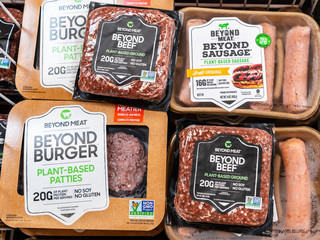August 16, 2019 Sunnyvale / CA / USA - Beyond Burger, Beyond Sausage and Beyond Beef packages, all Beyond Meat products, available for purchase in a supermarket in San Francisco bay area