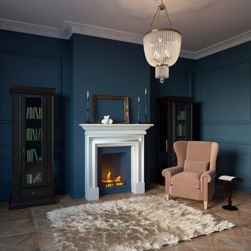 3d illustration. Private cabinet in classic style with fireplace and library
