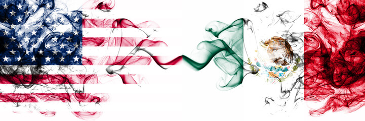 United States of America vs Mexico, Mexican smoky mystic flags placed side by side. Thick colored silky abstract smokes banner of America and Mexico, Mexican Fototapete