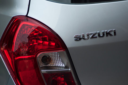 Grey Suzuki rear logo and rear light, Suzuki is a Japanese brand of multinational company which currently produces automotive