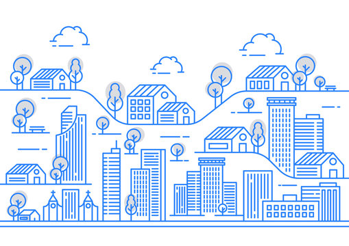 City line view illustration with a variety of building shapes