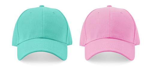 Pastel color baseball cap on white background.