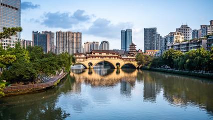 View of Anshun bridge on daytime and city and river panorama in Chengdu China