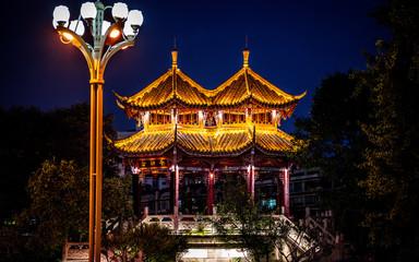Scenic view of illuminated Hejiang Pavilion at night in Chengdu China