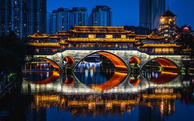 Scenic view of illuminated Anshun bridge at night in Chengdu China