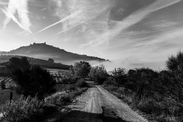 View of Assisi town silhouette at dawn, with mist and a road in the foreground