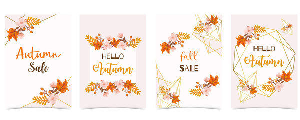 Collection of autumn background set with gold geometric,leaves,flower,wreath.Vector illustration for invitation,postcard and sticker.Editable element Fototapete