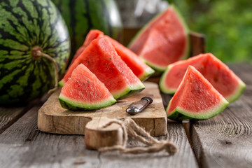 Tasty and fresh watermelon in sunny garden