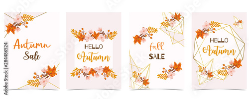 Wall mural Collection of autumn background set with gold geometric,leaves,flower,wreath.Vector illustration for invitation,postcard and sticker.Editable element