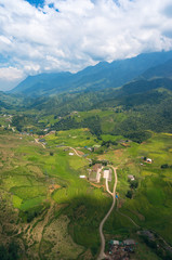 Aerial view of Sapa mountain valley with spectacular rice terraces