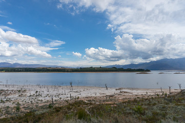 Theewaterskloof Dam in drought in Western Cape province, South Africa