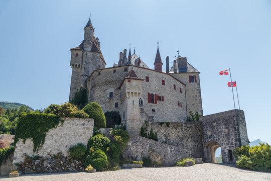 View to Château de Menthon-Saint-Bernard castle close to Annecy, France