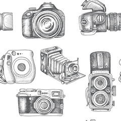 Vector hand drawn sketch pattern Professional SLR camera, photocamera.