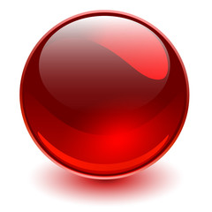 Obraz Glass sphere red, 3D shiny ball. - fototapety do salonu