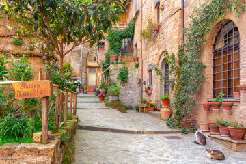 Fotorolgordijn Toscane Beautiful alley in Tuscany, Old town, Italy