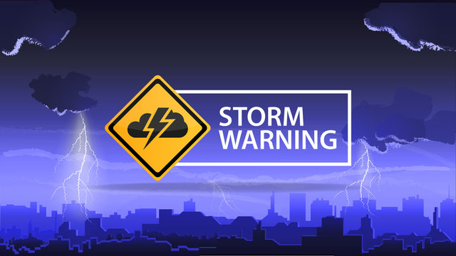 Storm warning, a warning sign on the background of the city