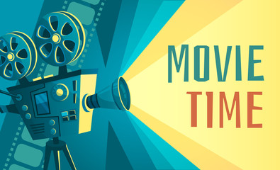 Movie time poster. Vintage cinema film projector, home movie theater and retro camera. Cinematography entertainment equipment, movies production festival banner vector illustration Wall mural