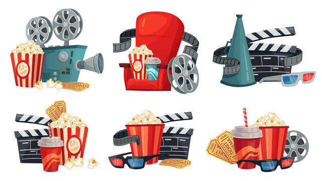 Cartoon cinema. Movie projector, 3d cinema glasses and vintage film camera. Popcorn, megaphone and movie house armchair. Hollywood cinematograph isolated icons illustration vector set