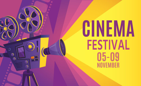 Cinema festival poster. Film billboard, retro movie camera and cinema projector. Cinematography festival flyers, filming events ticket or film entertainment banner cartoon vector illustration