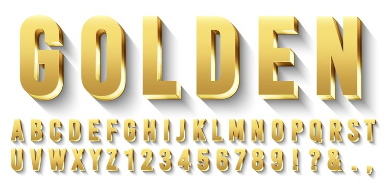 Golden 3D font. Metallic gold letters, luxury typeface and golds alphabet with shadows. Elegancy font abc and numbers, golden rich royal vip type letter. Isolated vector symbols set