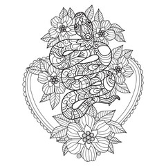 Hand drawn sketch illustration of snake and flower for adult coloring book.