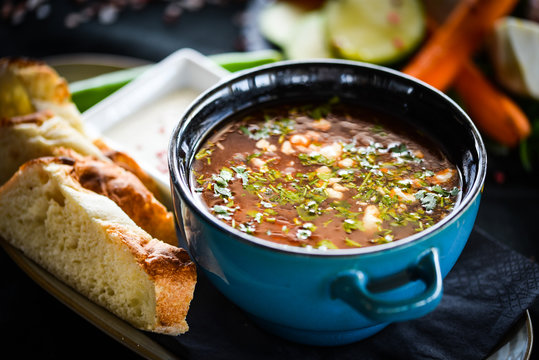 traditional beef soup with fresh vegetables