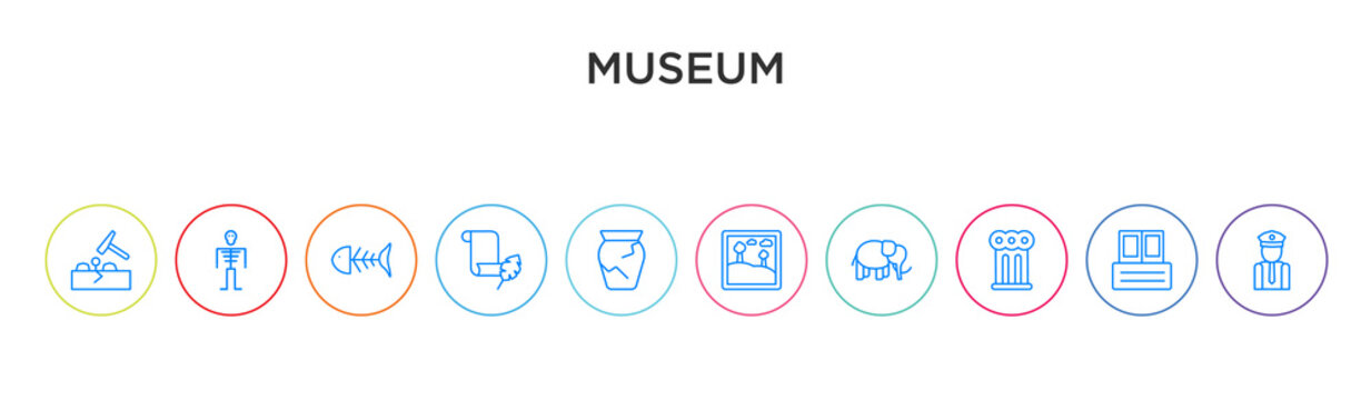 museum concept 10 outline colorful icons