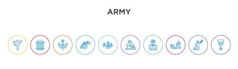 army concept 10 outline colorful icons