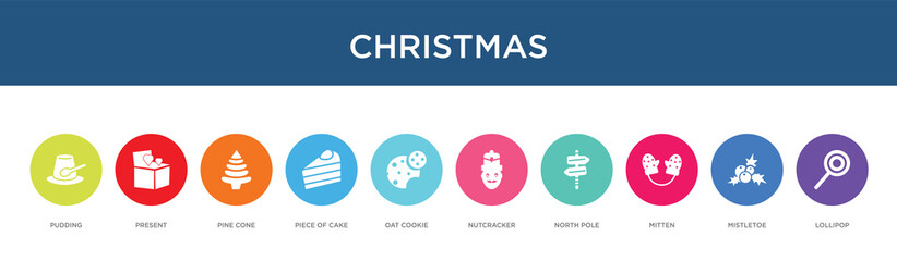 christmas concept 10 colorful icons